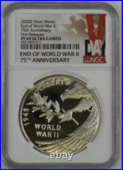 2020 END of WORLD WAR II 75th ANNIVERSARY SILVER MEDAL PF69 FIRST RELEASES