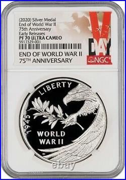 2020 End of World War II 75th Anniversary Silver Medal NGC PF70 Early Release