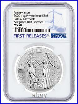 2020 Germany Allegories Germania & Italia 1 oz Silver Medal NGC MS70 FR PRESALE
