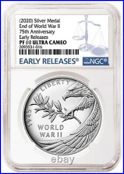 2020 P END of WORLD WAR II 75th ANNIVERSARY 1oz SILVER MEDAL NGC PF69 PRE-SALE