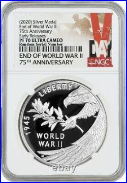 2020 P End Of WWII 75th Anniversary Proof 1 oz Silver Medal NGC PF70 UC ER