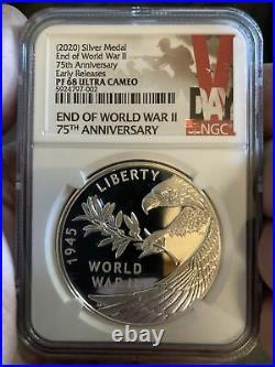 2020 P Ngc Pf68 End Of World War 2 75th Anniversary 1 Oz Silver Medal II Box Coa