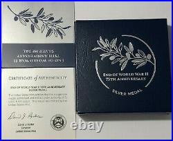 2020 P Ngc Pf70 End Of World War 2 75th Anniversary 1 Oz Silver Medal II Box Coa