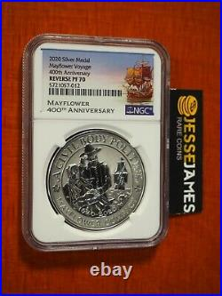 2020 Reverse Proof Silver Mayflower Voyage Ngc Pf70 400th Anniversary 1 Oz