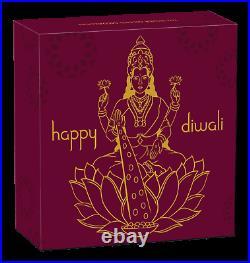 2020 TUVALU Diwali Festival Hindu New Year Gift 1oz Silver Gilt NGC PF69 Medal
