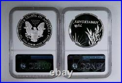 2020 W American Silver Eagle V75 & WWII 75th Anniversary Silver Medal NGC PF 70
