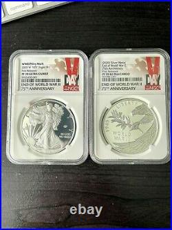 2020 W End of World War 2, II 75th Anniversary PF70 1oz Silver Eagle / Medal SET
