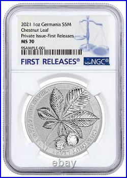 2021 Germania Mythical Forest Chestnut Leaf 1oz Silver Medal NGC MS70 FR