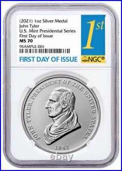 2021 US Presidential Medal Tyler 1 oz Silver Matte Medal NGC MS70 FDI PRESALE