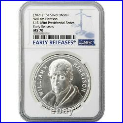 (2021) William Henry Harrison Silver Presidential Medal MS70 Early Releases NGC