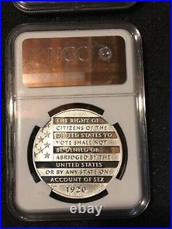 2Pc 2020P Women's Suffrage Silver Dollar & Medal Set NGC PF70 FR John Mercanti
