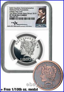 2pc 2019 1 oz Silver Gaudens Last Cent Medal NGC PF70 UC Mercanti+Bonus SKU58216