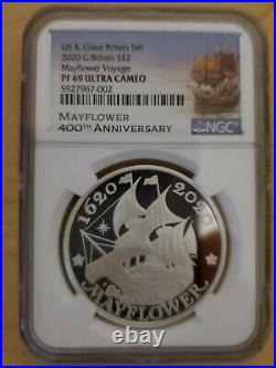 400th Anniversary of the Mayflower Voyage Silver Proof Coin and Medal Set NGC US