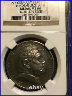 Beautiful Germany Silver Medal 1927 Von Hindenburg 80th Birthday, Gem NGC MS66