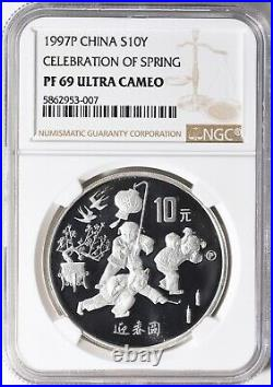 China 1997 S10Y Celebration of Spring Medal NGC PF69.999 Silver RARE! Bullion