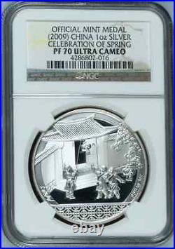 China 2009 S10Y Celebration of Spring Medal NGC PF70.999 Silver RARE! Bullion