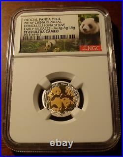 China 2016 Y Gold 3 gr Silver 1.5 gr Bi-Metallic Panda NGC PF69UC Honolulu Show