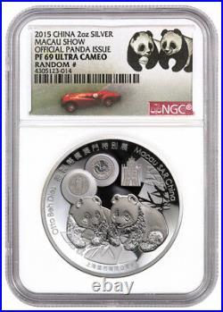 China Macau Money Fair Silver Panda 2 oz Silver 2015 Medal NGC PF69 UC
