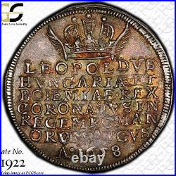 Finest @ Ngc & Pcgs Au55 1658 Leopold I Austria Coronation Medal 1/4 Taler Toned