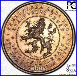 Finest & Only @ Ngc & Pcgs Sp62 1893 Bohemia Hauser-3978 Silver Ag Medal Toned