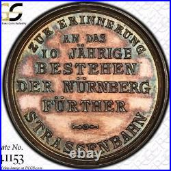 Finest & Only @ Ngc & Pcgs Sp63 1891 Nuremberg Germany Erl-294 Horse-tram Medal
