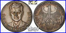 Finest & Only One Ngc & Pcgs Ms63 1963 John Kennedy Germany Silver Medal Toned