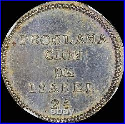 Finest & Only @ Pcgs & Ngc Ms62 1833 Spain Proclamation Medal Herrera-28, Toned