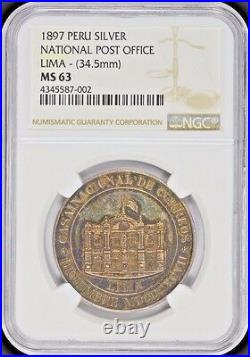Finest & Only Pcgs & Ngc Ms63 1897 Peru National P. O. Silver Medal Toned Rare