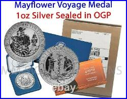 LIVE! 2020 Mayflower 400th 99.99% Silver Medal Original Government Packaging