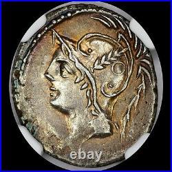 Lovely Q. Minucius Thermus M. F. Ar Denarius Ngc Xf 103 Bc Mars Gladiators Toned