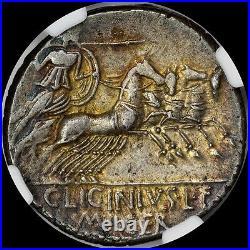 MOST EYE APPEALING ROMAN REPUBLIC C Lic LF Macer 84 BC AR DENARIUS TONED NGC AU