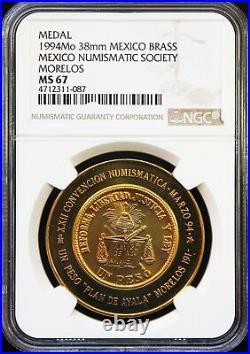 Mexico 1 oz Brass 1994 XXII International Numismatic Convention NGC MS67 POP 1