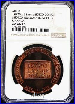 Mexico 1 oz Copper 1987 XIV International Numismatic Convention NGC MS66 RB Rare