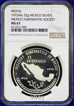 Mexico 25 g 1972 Silver Medal SONUMEX (Mexico Numismatic Society) NGC MS67 POP 1