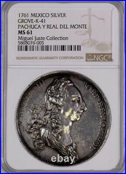 Ms61extremely Rare Silver Medal Proclamation Carlos III Pachuca (mexico)