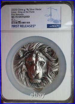 NGC MS70 Antiqued 2020 China 80mm Solid Silver (around 395 grams) Medal Lions