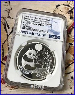 NGC PF70 2018 Beijing Coin Expo SILVER Panda medal 1oz Intl Expo