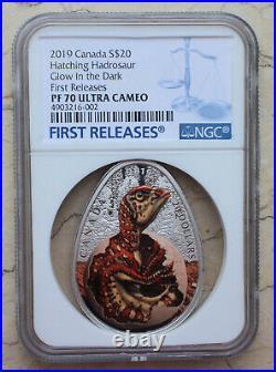 NGC PF70 2019 Canada 1oz Silver Coin Hatching Hadrosaur Dinosaur Dark Glow