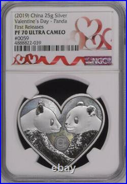 NGC PF70 2019 China Valentine's Day Panda 25g Silver Medal First Releases