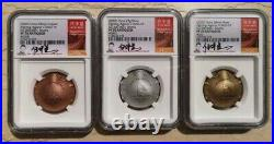 NGC PF70 2020 China Antiqued Medals Set Fight Virus (Statue Liberty, Signed)