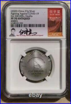 NGC PF70 2020 China Silver 27g Medal Fight Virus (Statue Liberty, Signed)
