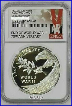 NGC PF70 2020 P End of World War 2 II 75th Anniversary 1oz Silver Medal Eagle 75