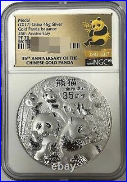 NGC PF70 China 45g Medal Gold Panda Issuance 35th Anni silver Medal