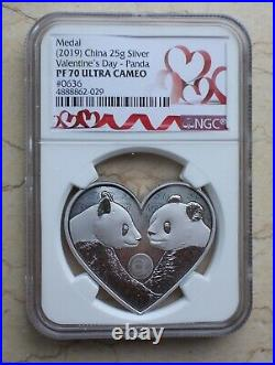 NGC PF70 China Valentine's Day Heart Love 25g Silver Panda Medal (Red Label)