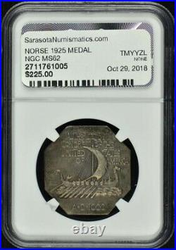 NORSE 1925 Silver Commemorative THICK SILVER MEDAL NGC MS62