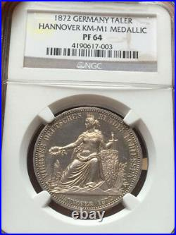 Ngc-pf64 1872 Germany Taler Hannover Medallic Silver Proof