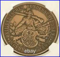 Nurnberg NGC 1897 AU 58 Unc City View Hunter High Relief Silver Shooting Medal