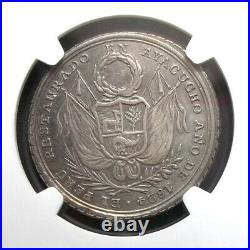 Peru 1824 Victory Of Ayacucho Ngc Au50 Fonrobert-9178 Silver Medal