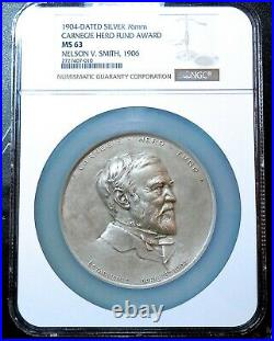 RARE! 1904 CARNEGIE HERO FUND AWARD MEDAL to N. SMITH 1906, SILVER 76mm NGC MS63