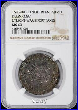 Rare Finest & Only @ Pcgs & Ngc Ms63 1596 Netherland Utrecht Silver Medal Toned